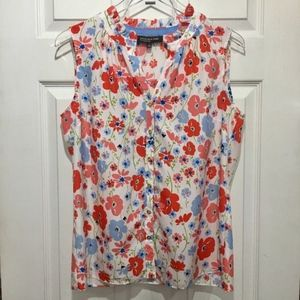 Jones New York Womens Floral Sleeveless Blouse Top